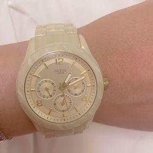 Guess Ladies Mini Spectrum Cream Plastic Watch